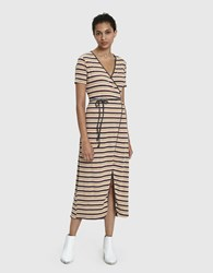 Which We Want Lou Ribbed Wrap Dress Multi Stripe