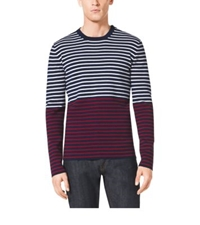 Michael Kors Striped Cotton And Cashmere Sweater Indigo