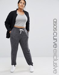 Asos Curve Sweat Pant In Nepi With Contrast Tie Grey