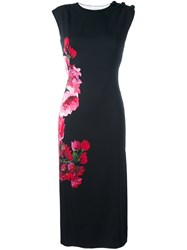 Dolce And Gabbana Floral Print Midi Dress Black