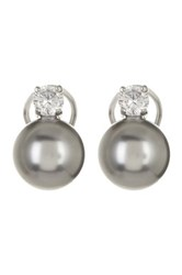 Savvy Cie Simulated Gray Tahitian Pearl And Simulated Diamond Stud Earrings Black