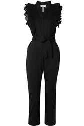 Apiece Apart Limon Ruffled Broderie Anglaise Trimmed Cotton Voile Jumpsuit Black