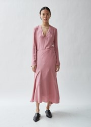 Haider Ackermann Crepe Long Sleeve Wrap Dress Malibu Rose