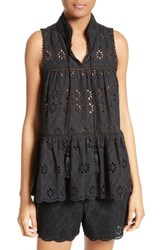 Kate Spade Women's New York Eyelet Embroidered Tiered Top