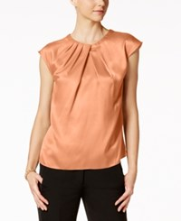 Kasper Satin Pleat Neck Shell Blush