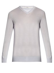 Adam By Adam Lippes V Neck Wool Sweater Blue