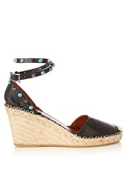 Valentino Rockstud Espadrille Wedge Sandals Black