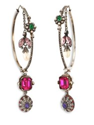Alexander Mcqueen Creole Crystal Hoop Earrings 2.5 Multi