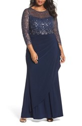 Decode 1.8 Plus Size Women's Lace And Jersey Gown Navy