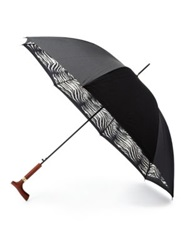 Saks Fifth Avenue Zebra Print Umbrella Black White