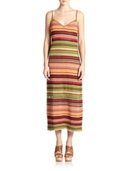 Polo Ralph Lauren Suede Trim Serape Maxi Dress Red Serape