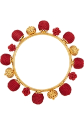 Dolce And Gabbana Gold Plated Resin And Woven Bangle