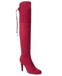Rialto Calla Over The Knee Dress Boots Women's Shoes Red Bordeaux