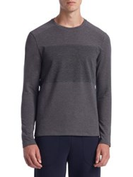 Saks Fifth Avenue Collection Mixed Media Sweatshirt Charcoal