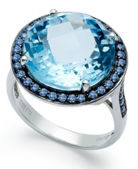 Macy's Sterling Silver Ring Blue Swarovski Zirconia 5 8 Ct. T.W. And Blue Topaz 11 Ct. T.W. Round Halo Ring
