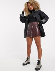 Bershka Zip Up Faux Leather Mini Skirt In Red