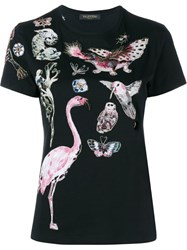 Valentino Fantastic Animal Embroidered T Shirt Black