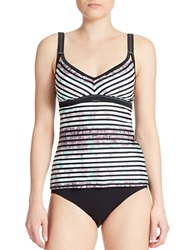 Adidas Iconic Striped Tankini Top Green