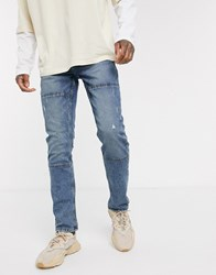 Only And Sons Slim Fit Jeans In Light Wash Blue