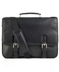 Kenneth Cole Reaction Manhattan Leather Single Gusset Laptop Briefcase Black