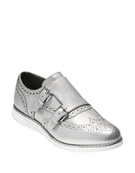 Cole Haan Original Grand Leather Double Monk Oxfords Silver