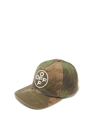 Off White Logo Camouflage Print Cotton Baseball Cap Camouflage