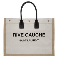 Saint Laurent Off White And Tan Rive Gauche Noe Tote