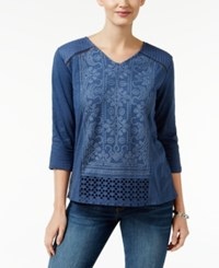 Styleandco. Style Co. Embroidered V Neck Top Only At Macy's Tapestry Blue