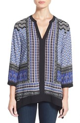 Women's Nydj Border Print Split Neck Tunic Oxford Blue