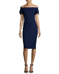 La Petite Robe Di Chiara Boni Maelle Off The Shoulder Sheath Dress Navy