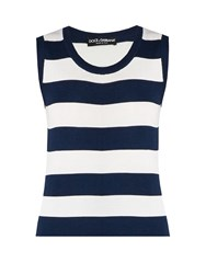 Dolce And Gabbana Rigato Striped Silk Jersey Sleeveless Top Blue Stripe