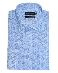 Double Two Floral Formal Shirt Blue
