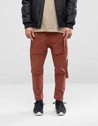 Asos Drop Crotch Cropped Trousers With Cargo Pockets In Rust Rust Brown