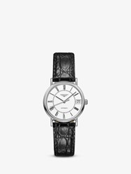 Longines L43224112 'S Presence Automatic Date Leather Strap Watch Black White
