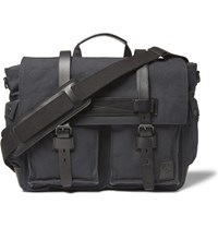 Belstaff Colonial Leather Trimmed Cotton Canvas Messenger Bag Black
