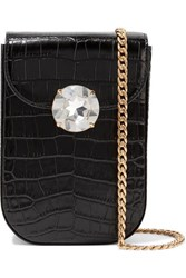 Miu Miu Solitaire Crystal Embellished Croc Effect Leather Shoulder Bag Black