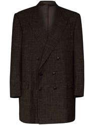 Martine Rose Double Breasted Check Blazer Brown