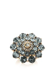 Oscar De La Renta Flower Crystal Embellished Ring Black