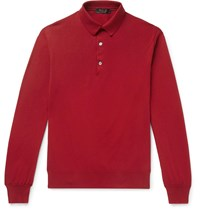 Loro Piana Knitted Cotton Polo Shirt Red