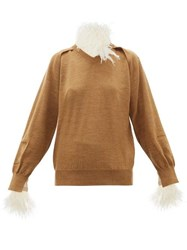 Toga Feather Trimmed Wool Blend Sweater Beige