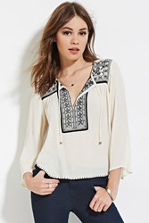 Forever 21 Embroidered Peasant Top Cream Black