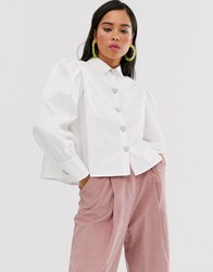 Sister Jane Shirt With Volume Sleeves And Faux Pearl Heart Buttons White
