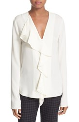 Theory Women's 'Jastrid' Ruffle Front Silk Georgette Blouse
