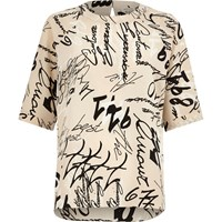 River Island Womens Cream Word Print Chiffon T Shirt