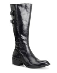 Born Berry Leather Riding Boots Black