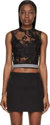 Denis Gagnon Black Floral Lace Sheer Sleeveless Top