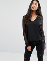 Supertrash Bouchra Sheer Sleeve Deep V Blouse Black