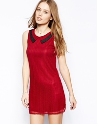 Mela Loves London Sleeveless Dress With Lace Collar Redblack