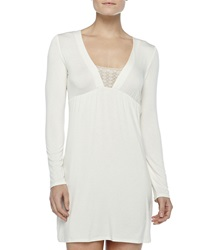 La Perla Studio Long Sleeve Short Gown Winter White