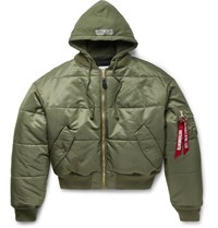 Vetements Alpha Industries Oversized Reversible Padded Shell Bomber Jacket Army Green